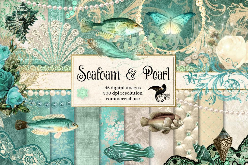 Seafoam and Pearl Digital Scrapbooking Kit example image 1