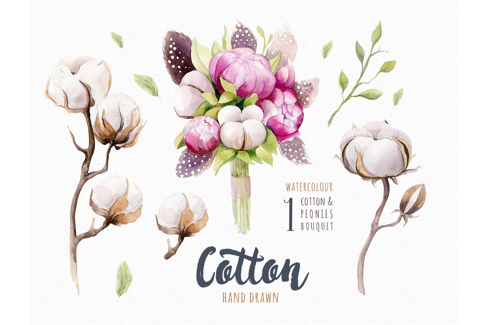Watercolour cotton & birds example image 5
