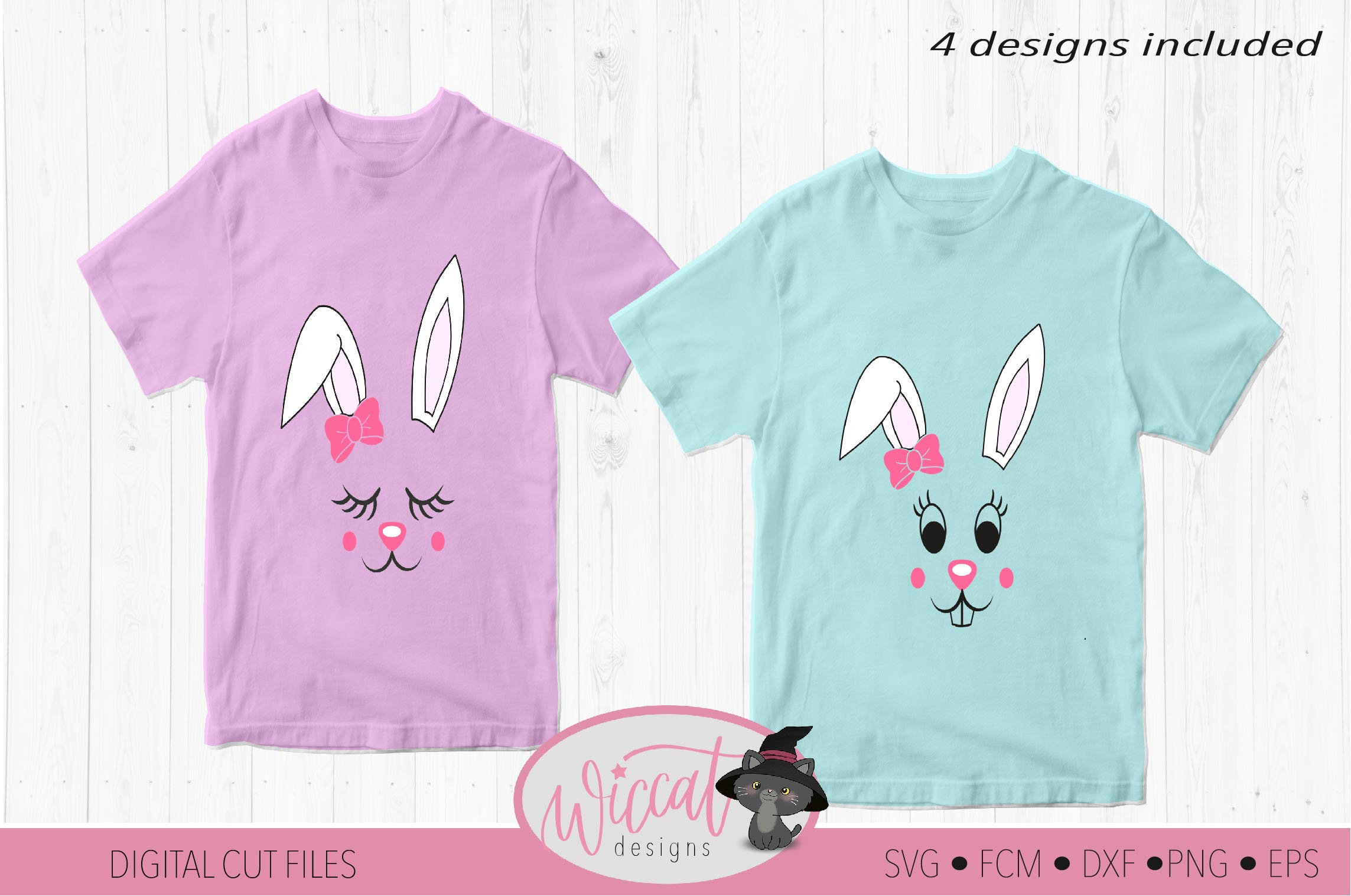 Easter Bunny face svg, Girl bunny face svg, cut file example image 2