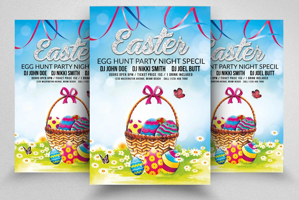 10 Easter Egg Psd Flyer Print Template Bundle example image 10
