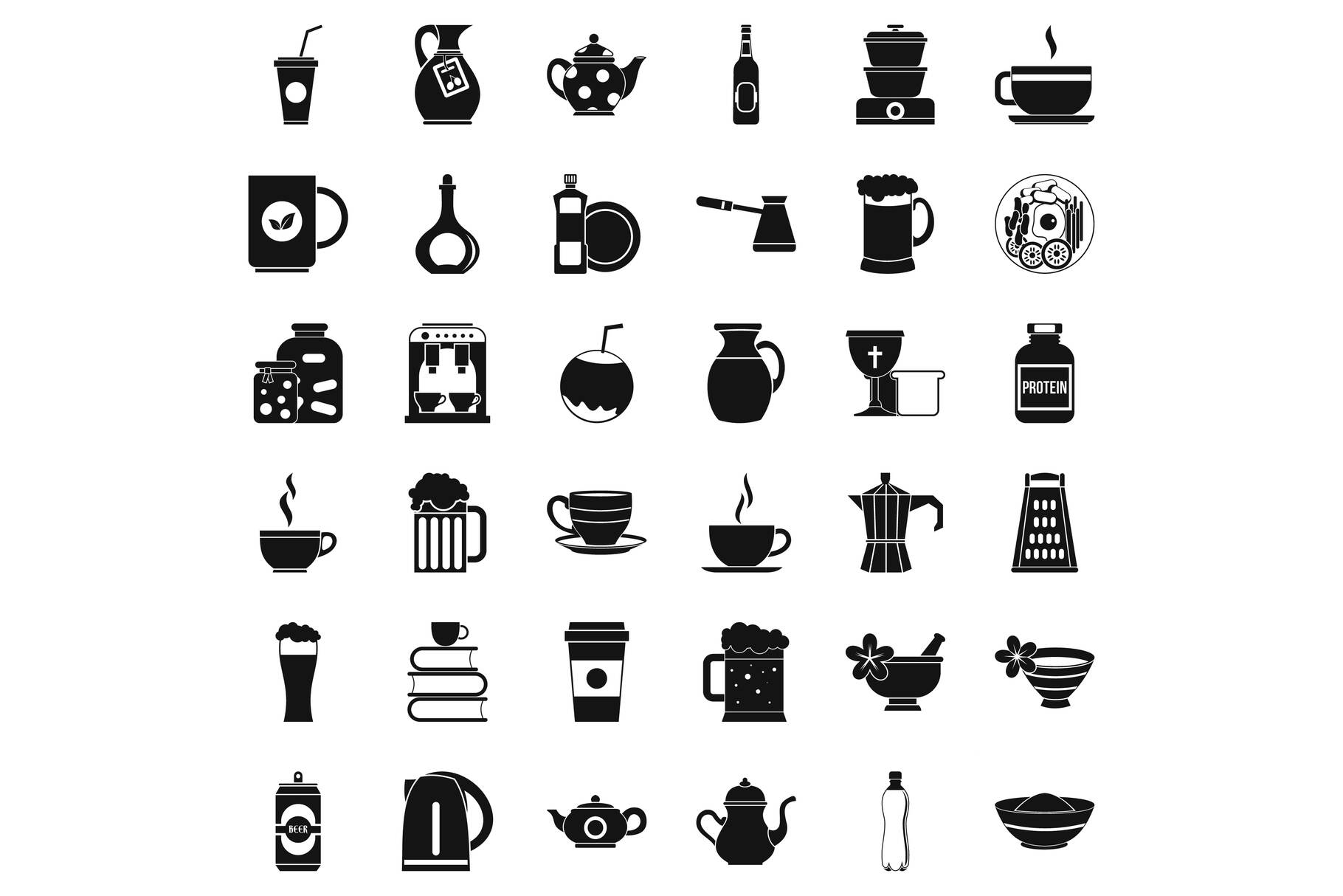 Dinnerware icons set, simple style example image 1