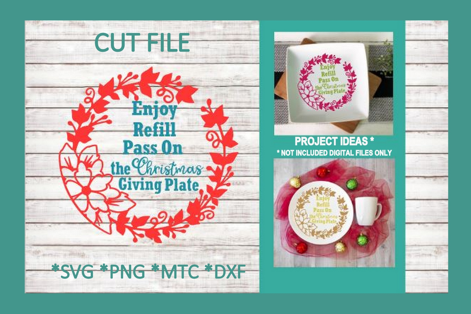 SVG Cut File Christmas Giving Plate BUNDLE Set 01 example image 5