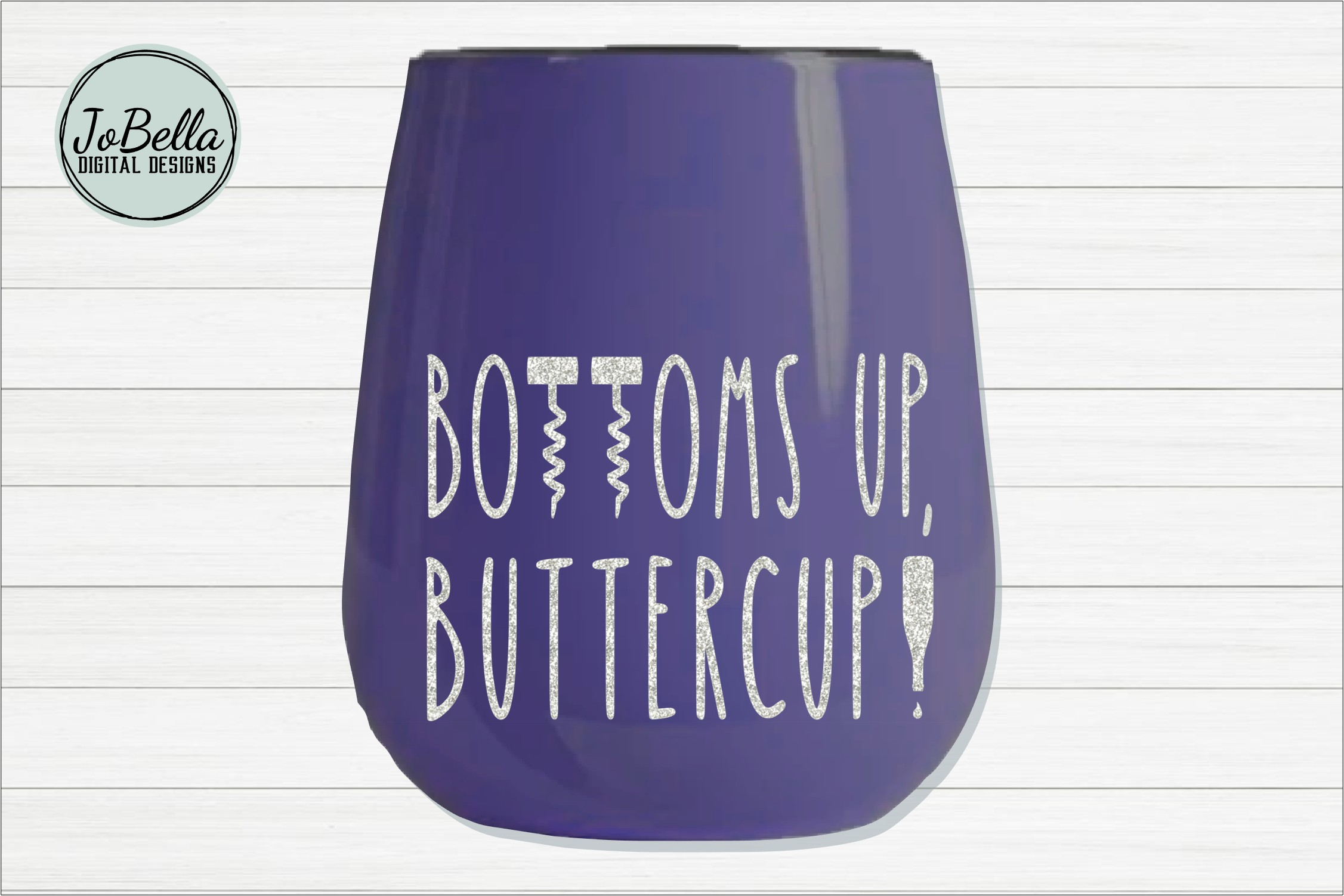 Bottoms Up Buttercup Wine SVG, Sublimation PNG and Printable example image 2