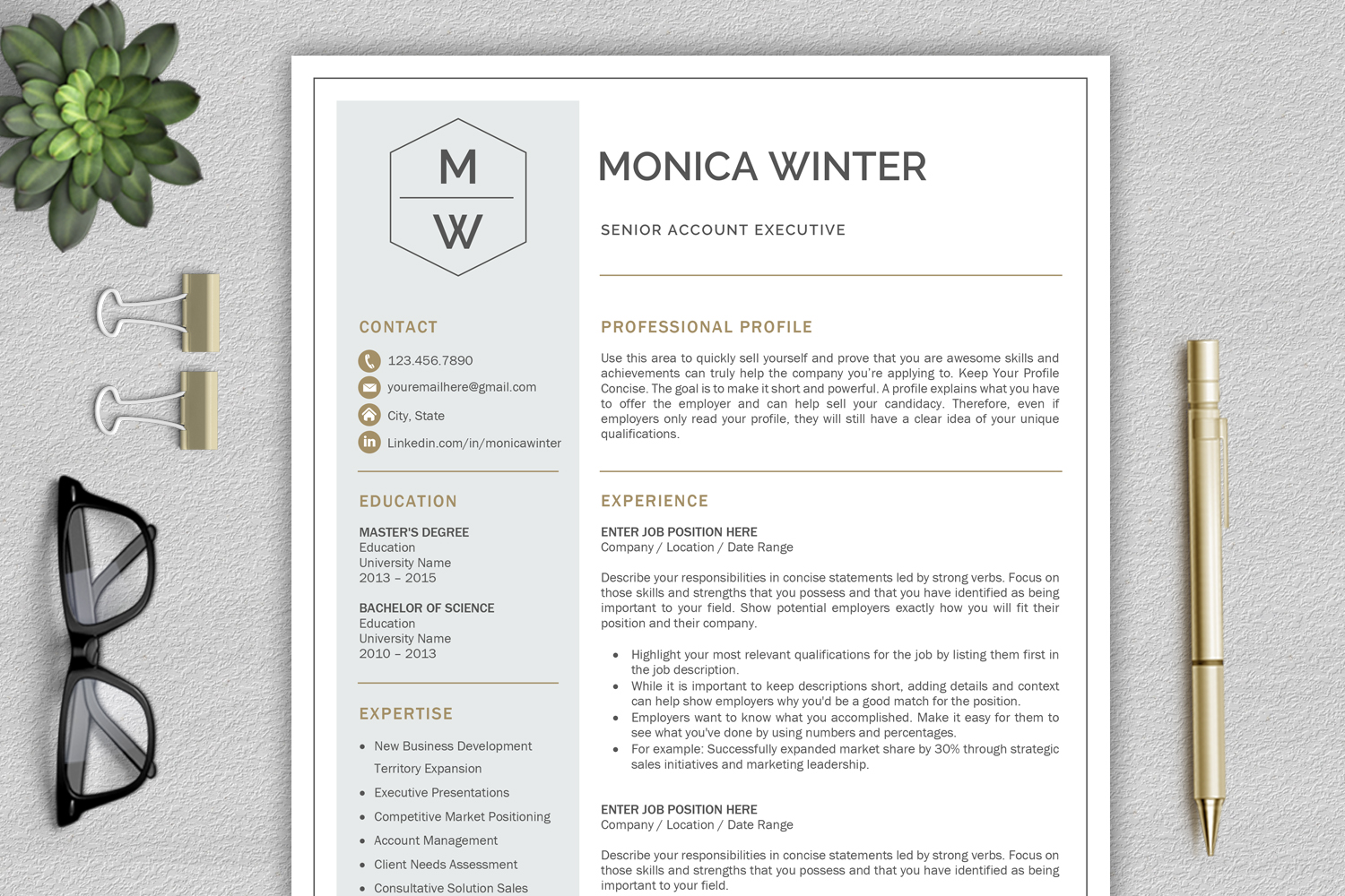 Resume Template / CV Template / Cover Letter example image 1