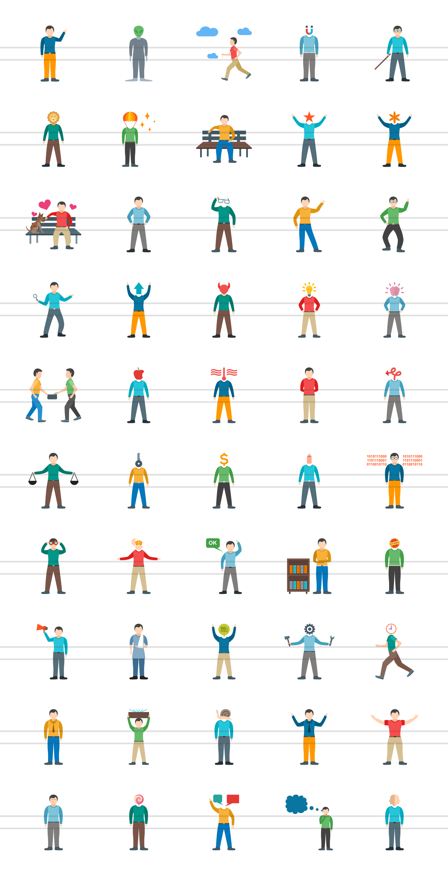 50 Personality Traits Flat Multicolor Icons example image 2