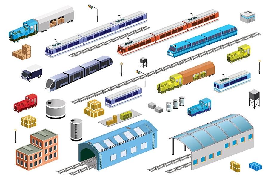 Railway Transport isometric Set example image 1