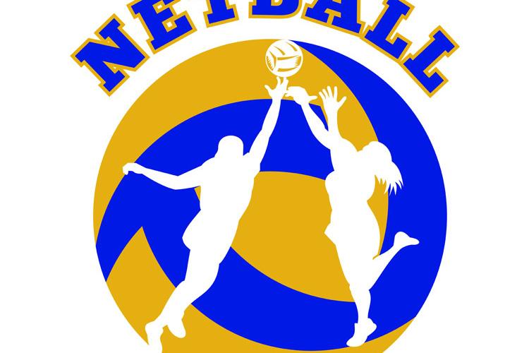 Netball player rebounding for ball example image 1