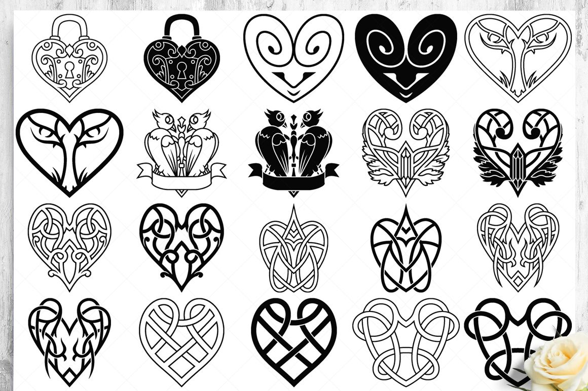 100 Heart Vector Ornaments and Seamless Patterns example image 15