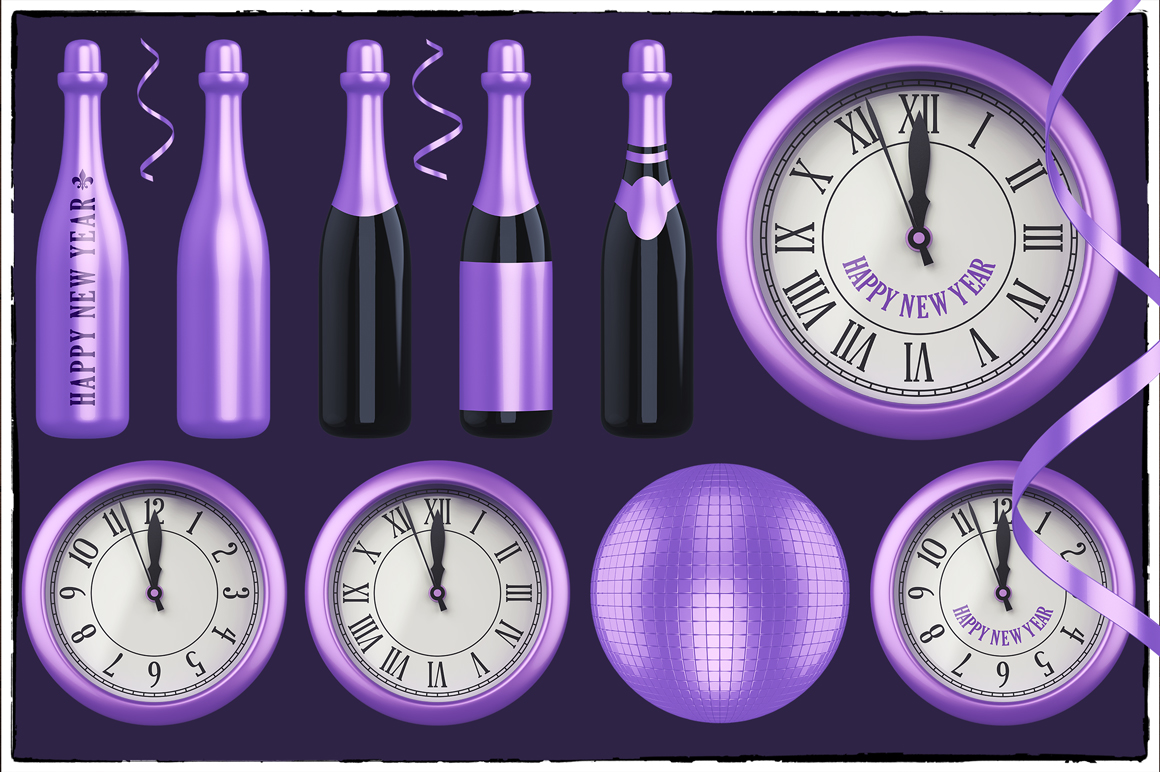 New Year 3D PNG Items Pack example image 5