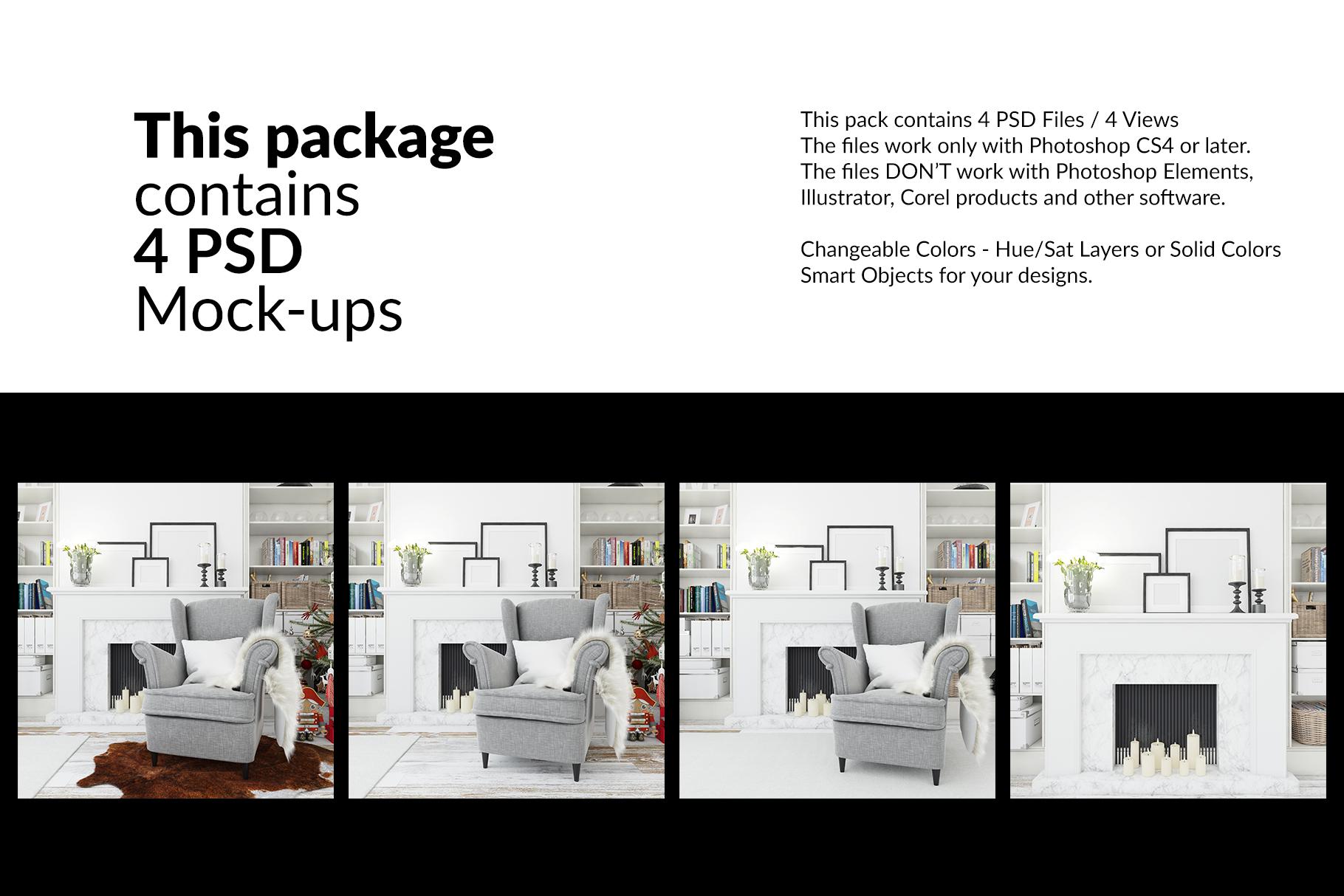 Christmas Living Room - Pillow & Frames Set example image 2