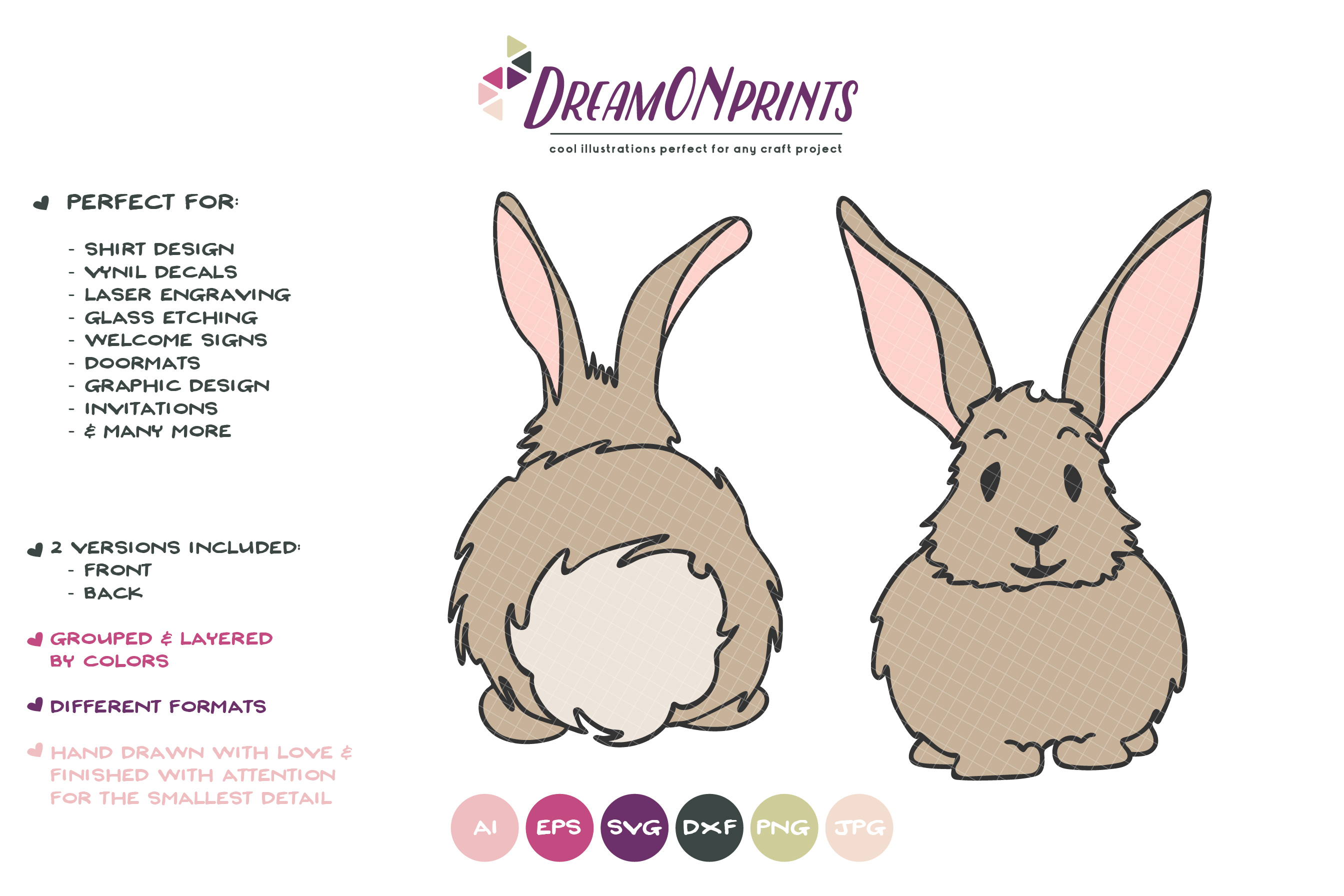 Bunny SVG Cut Files - Bunny Butt SVG - Easter Bunny SVG example image 2