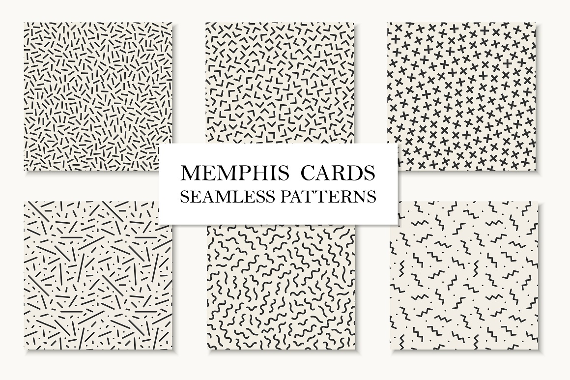 Seamless memphis patterns.Vector set example image 1