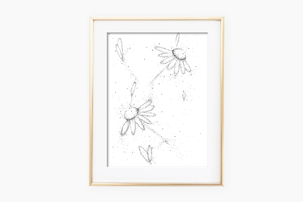 Doodle Flowers Art, A1, SVG example image 2