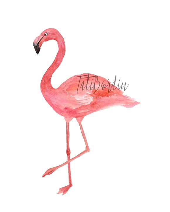 Watercolor Flamingoes Clip Art+Print example image 2
