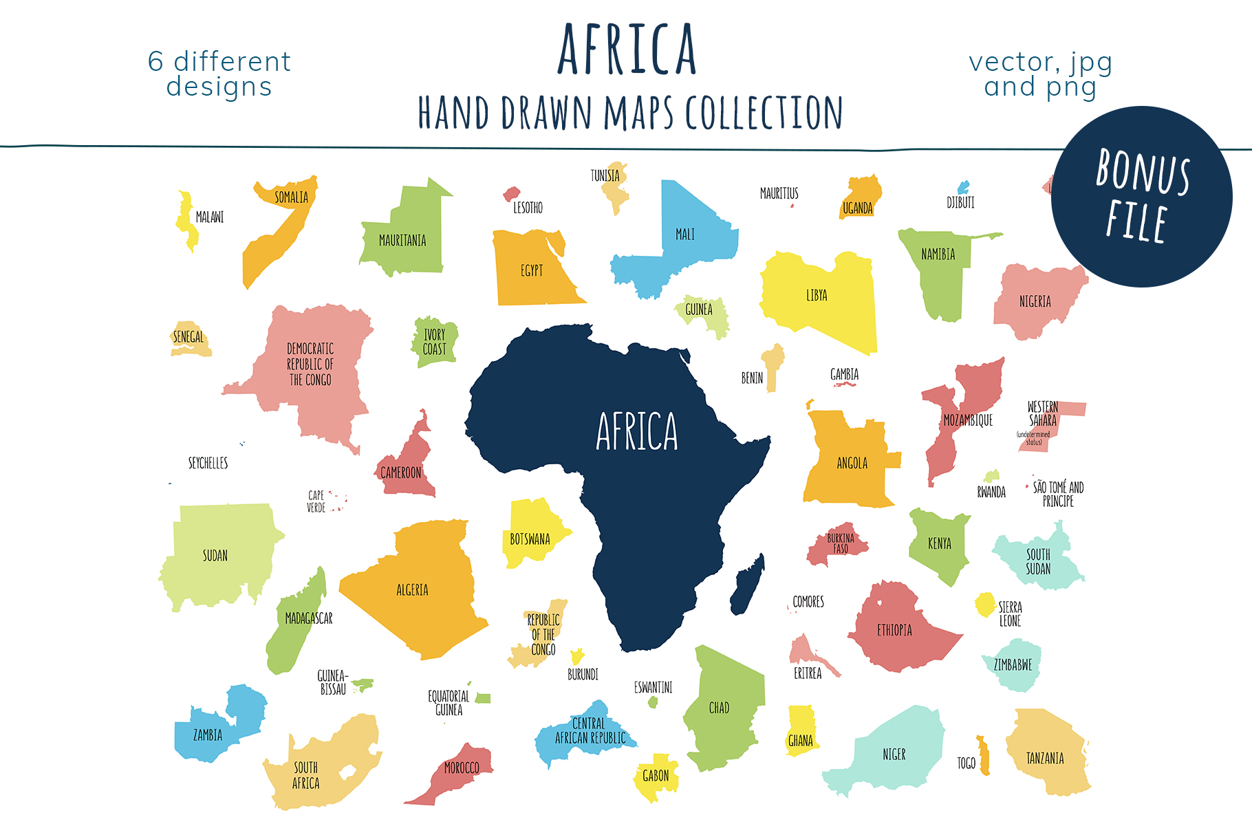Maps of Africa. Hand drawn collection example image 8