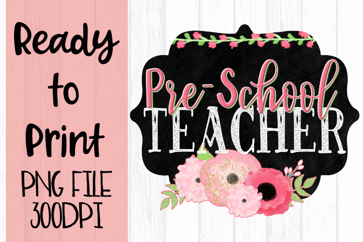 Pre-School Teacher Chalkboard and Flowers Ready to example image 1