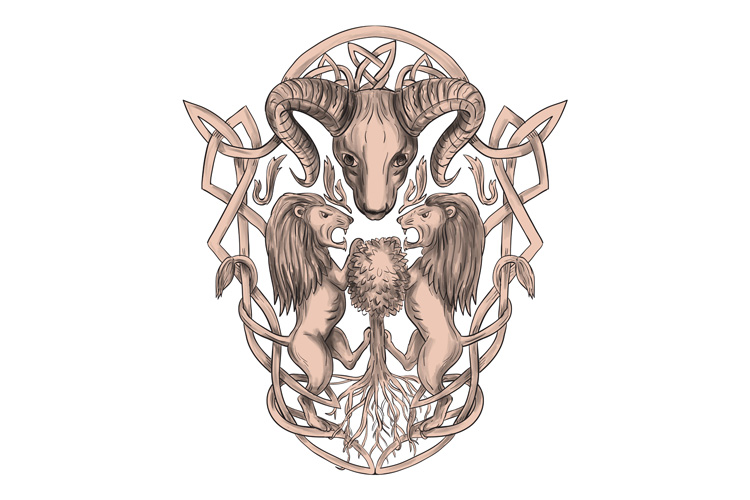 Bighorn Sheep Lion Tree Coat of Arms Celtic Knotwork Tattoo example image 1