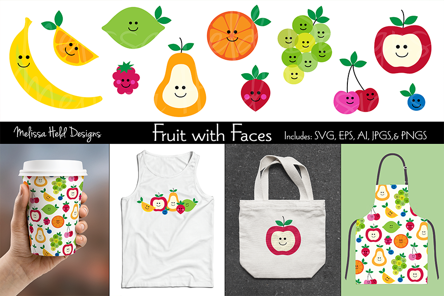 Fruit with Faces Graphics & Pattern example image 1