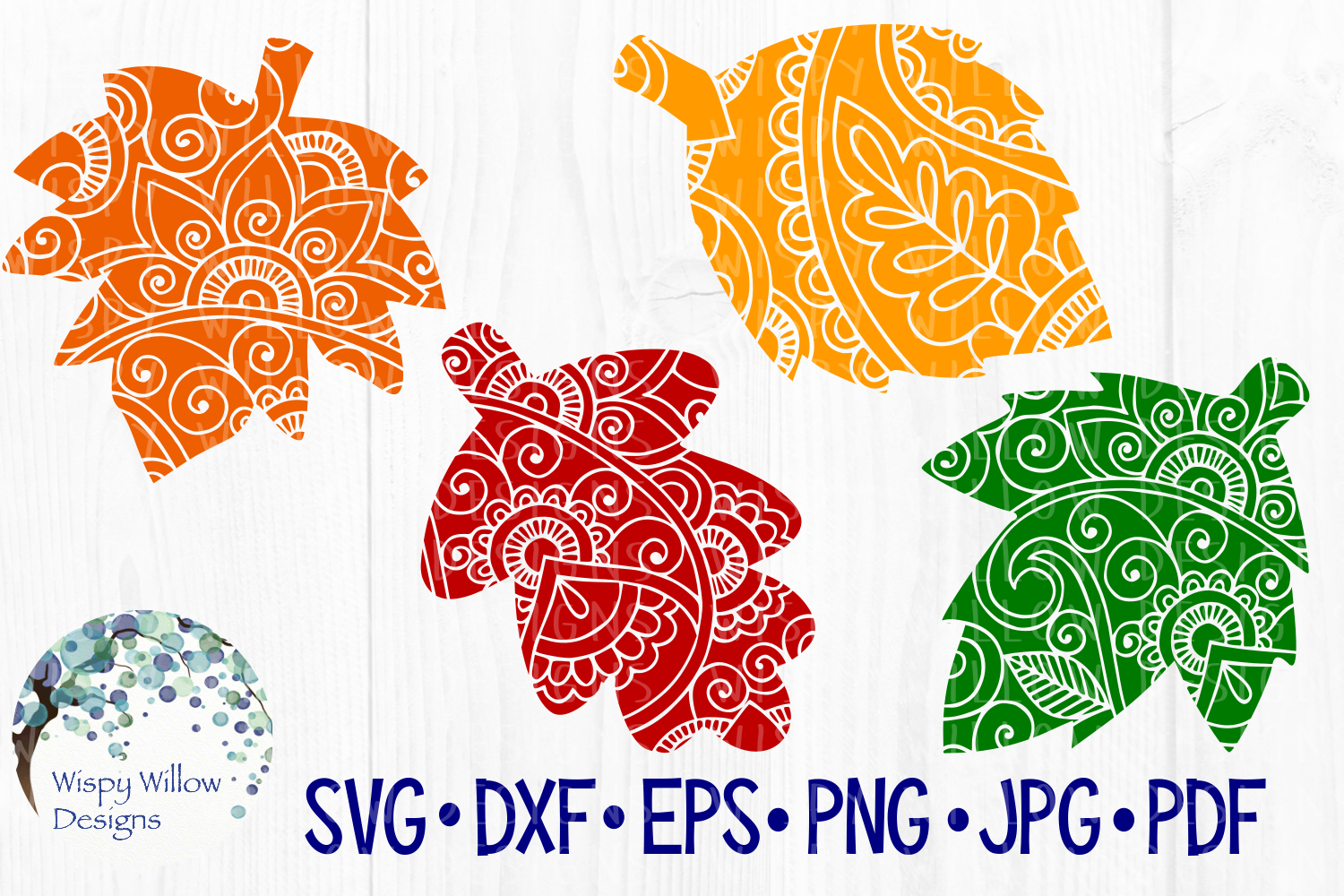 Leaves, Leaf, Fall, Zentangle, Mandala SVG Cut File example image 1