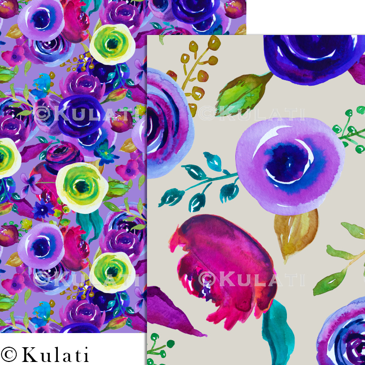 Watercolor Floral Seamless Patterns example image 6