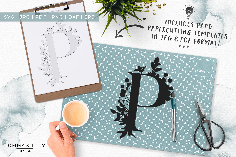P Bouquet Letter Design - Paper Cut SVG EPS DXF PNG PDF JPG example image 6