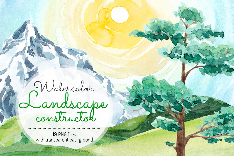 Landscape clipart Watercolor landscape constructor Nature example image 1