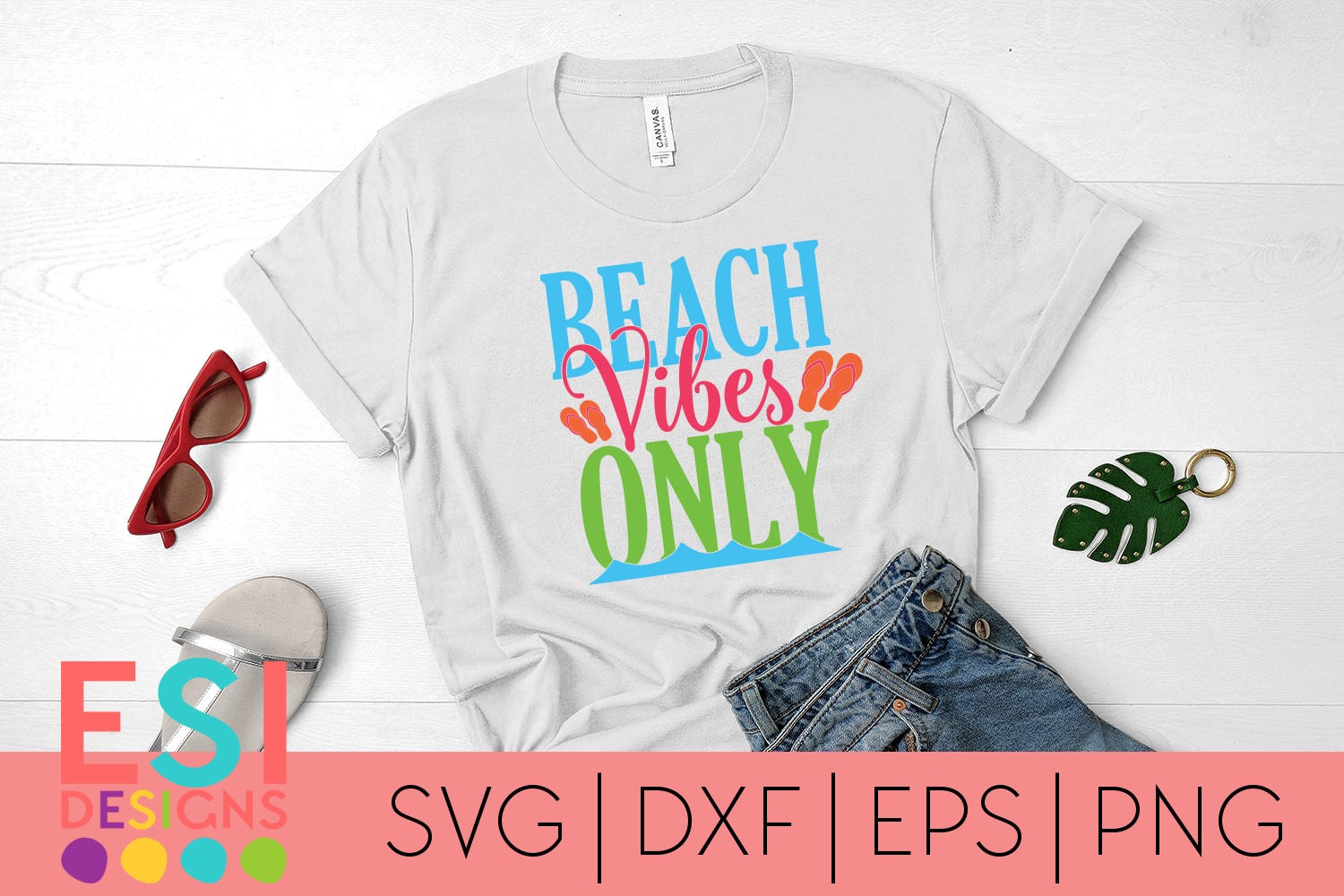Summer SVG   Beach Vibes Only  SVG, DXF, EPS & PNG example image 1