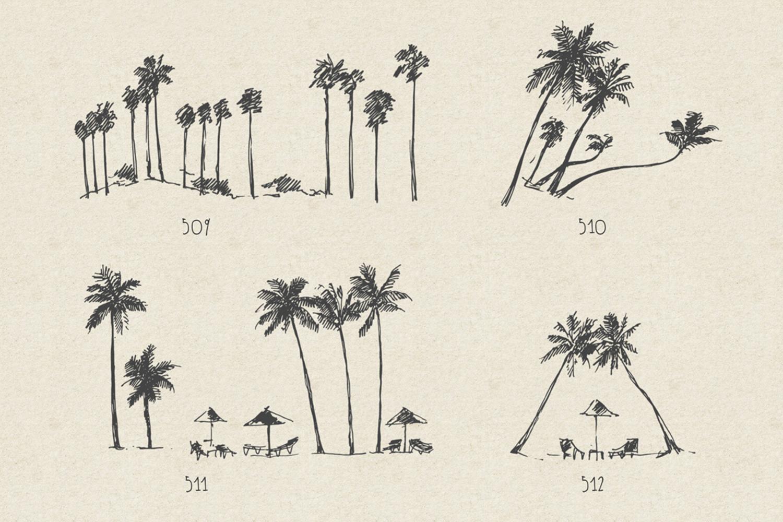 227 hand drawn palms + BONUS example image 6