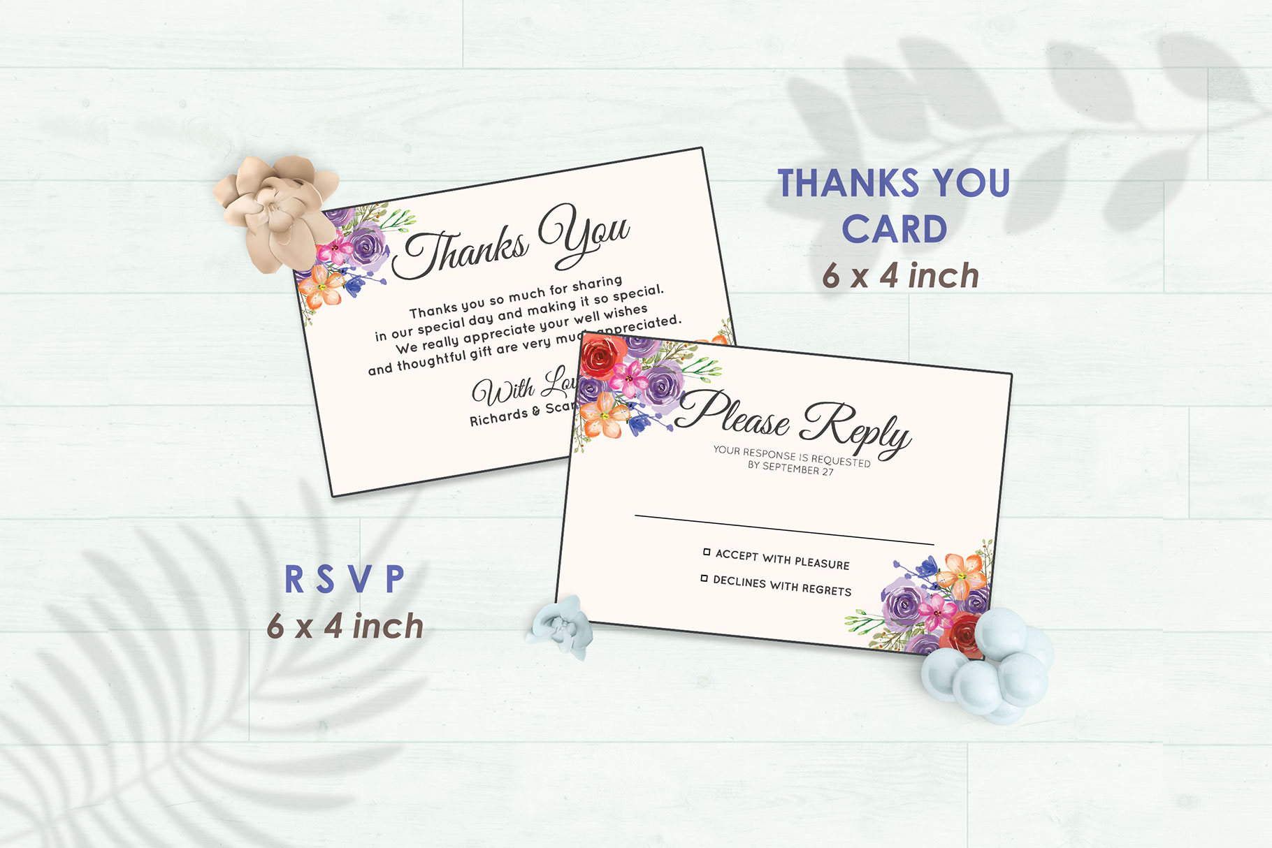 Wedding Invitation Set #10 Watercolor Floral Flower Style example image 4