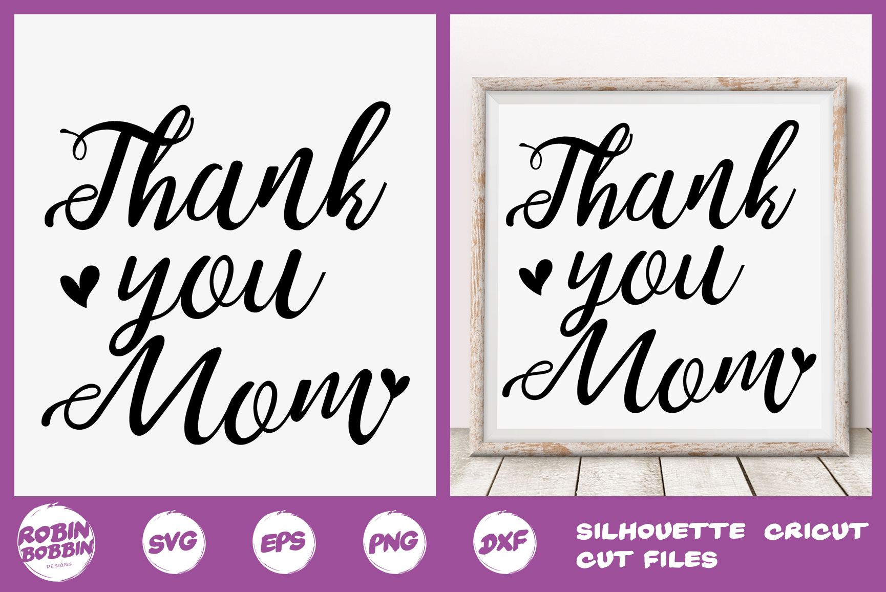 Thank You Mom Svg - Mother SVG PNG EPS DXF Craft example image 1