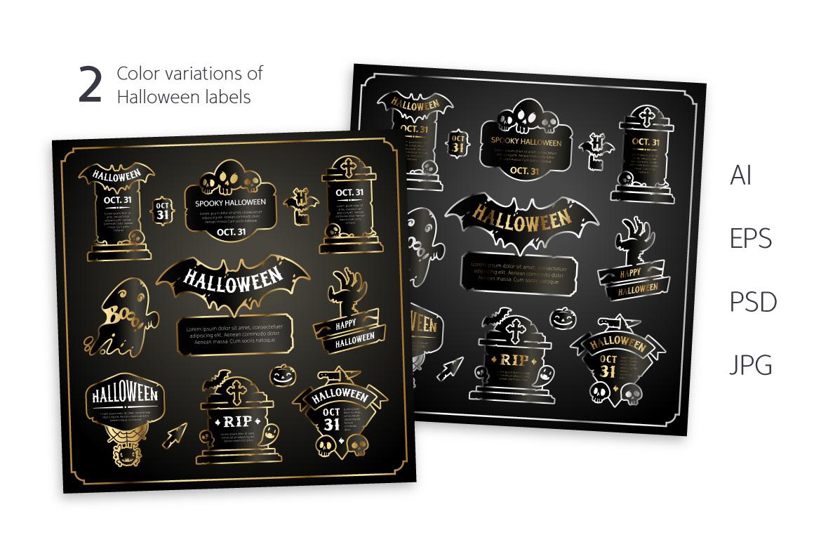 Halloween Design Golden Labels Set example image 2