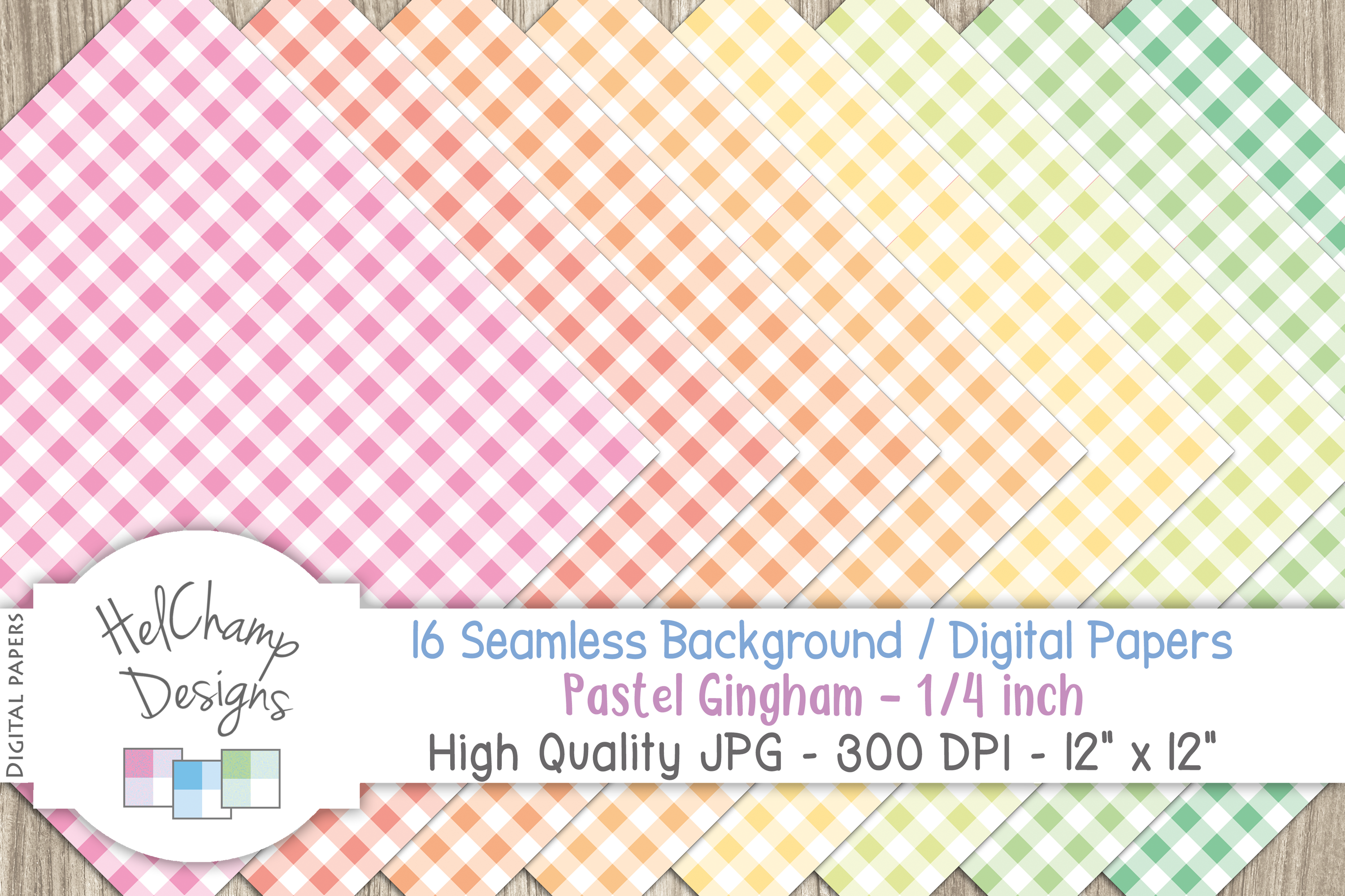 48 seamless Digital Papers - Pastel Gingham serie - DB001 example image 3