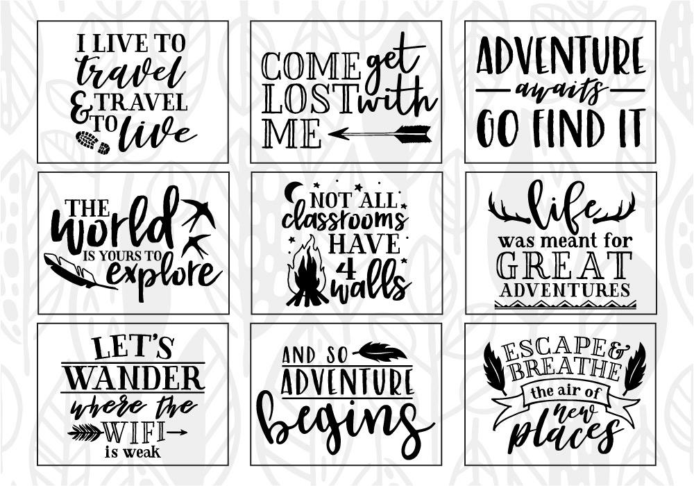 Adventure & Travel Quote SVG Cut File Bundle example image 3