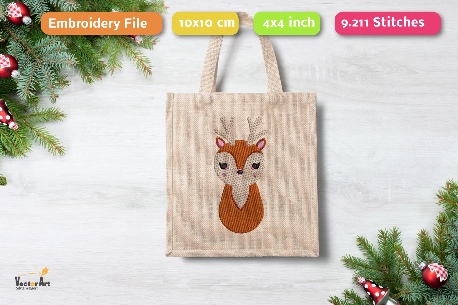 Deer - Embroidery File - 4x4 inch example image 1