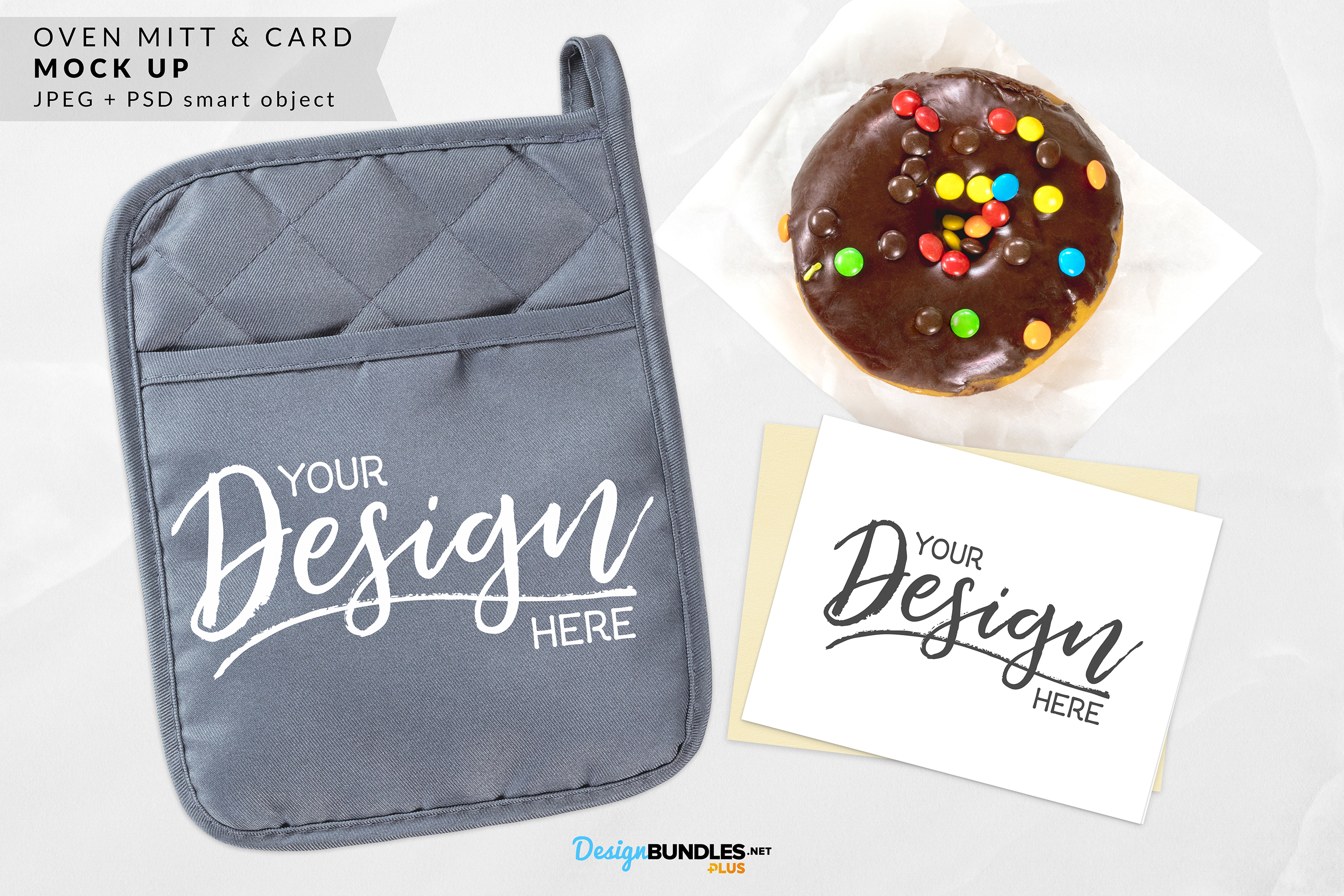 Red & Gray Oven Mitt & Card Mock ups example image 1