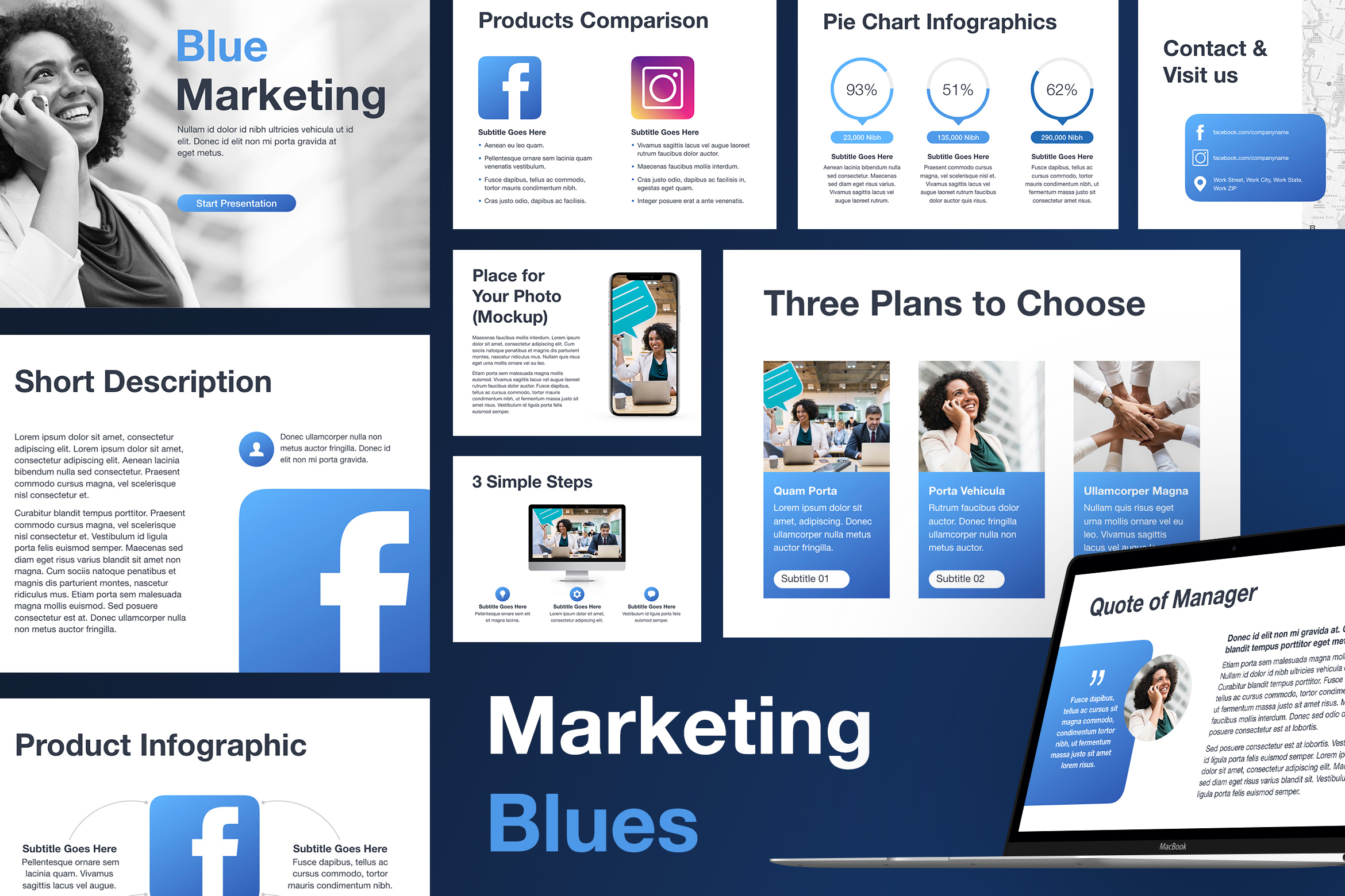 Marketing Blues Keynote Template example image 1