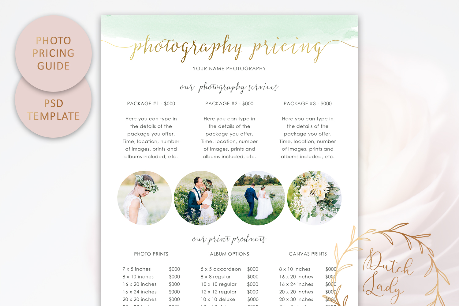 PSD Photography Pricing Guide Template Design #9 example image 2