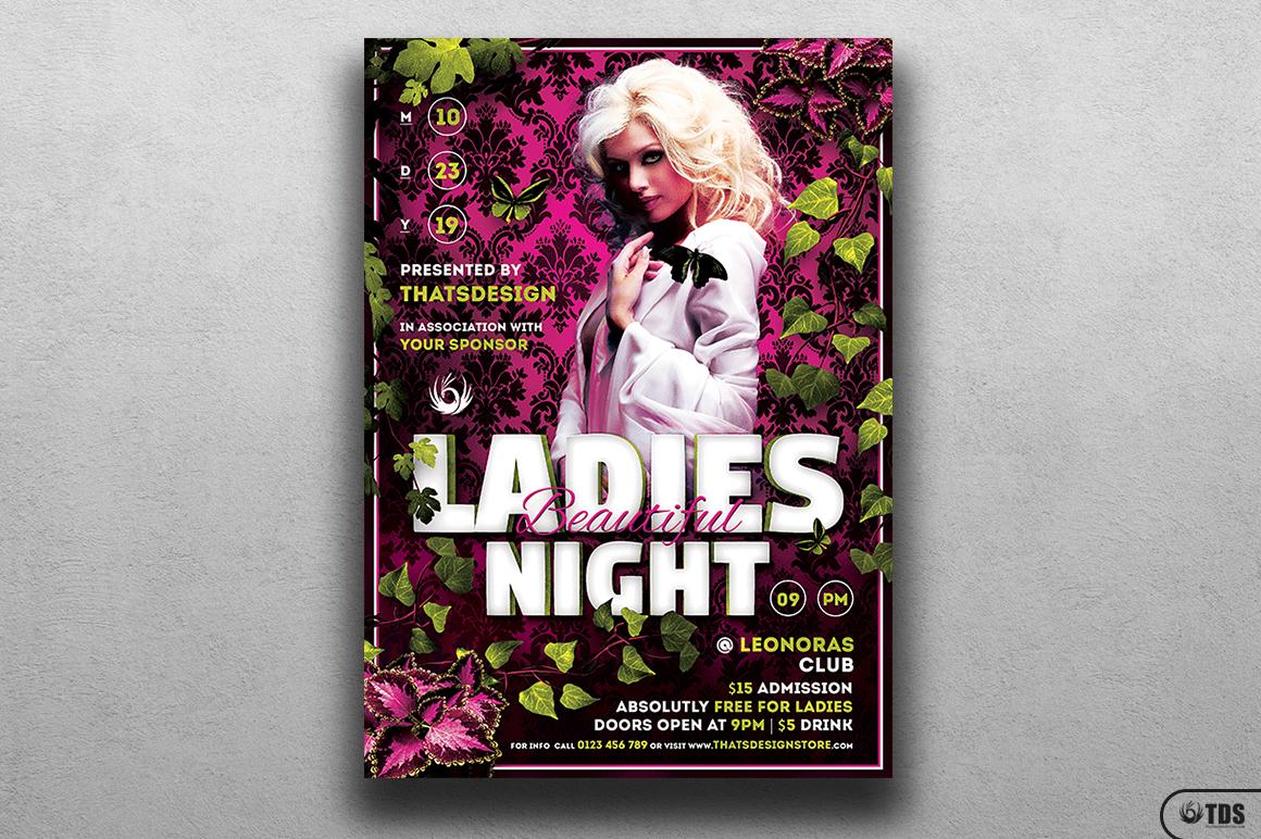 Beautiful Ladies Night Flyer Template example image 1