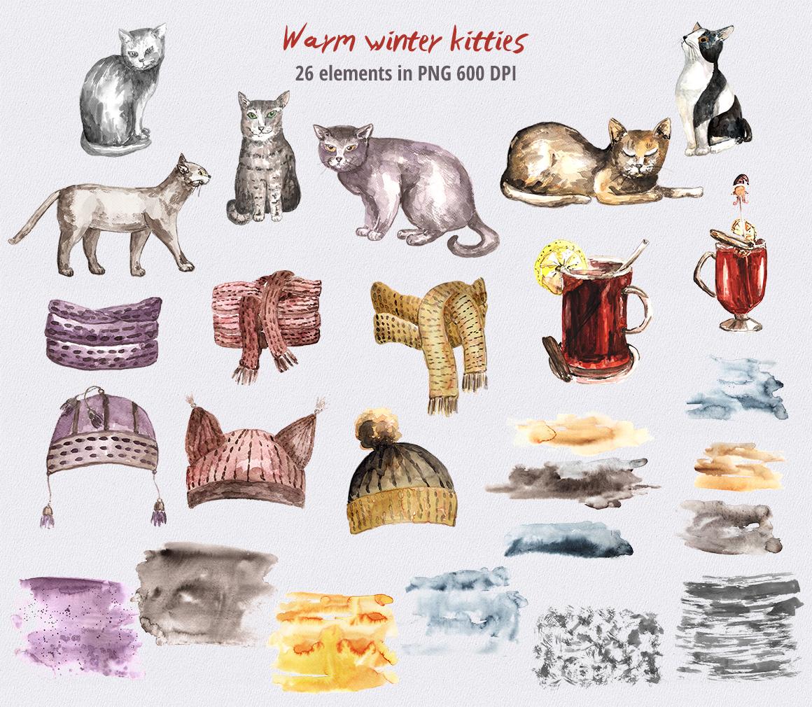 Warm Winter Kitties - watercolor example image 4