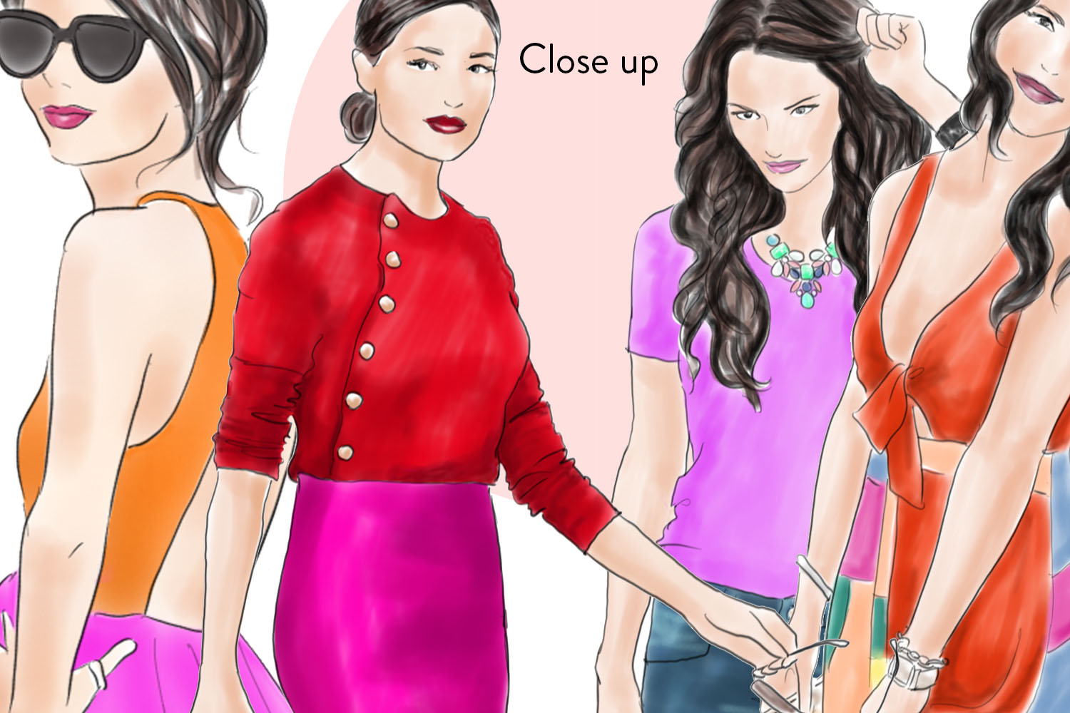 Watercolor clipart - Girls in Brights -  Fashion illustration example image 3