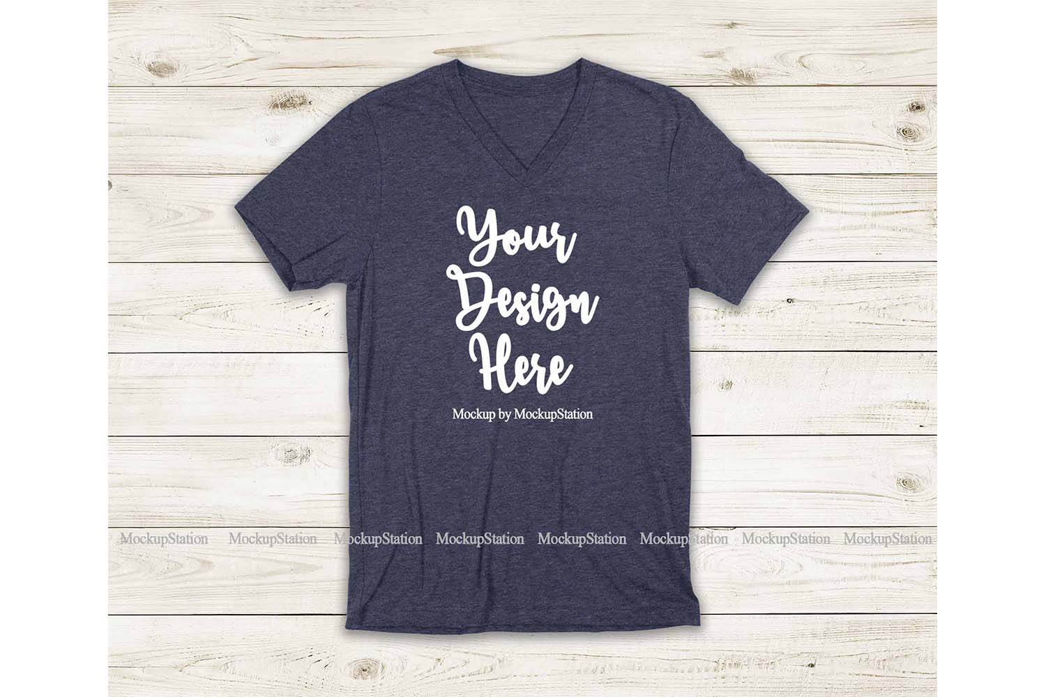 Navy Heather Shirt Mockup, Bella Canvas 3005 V-Neck Tee Mock example image 1