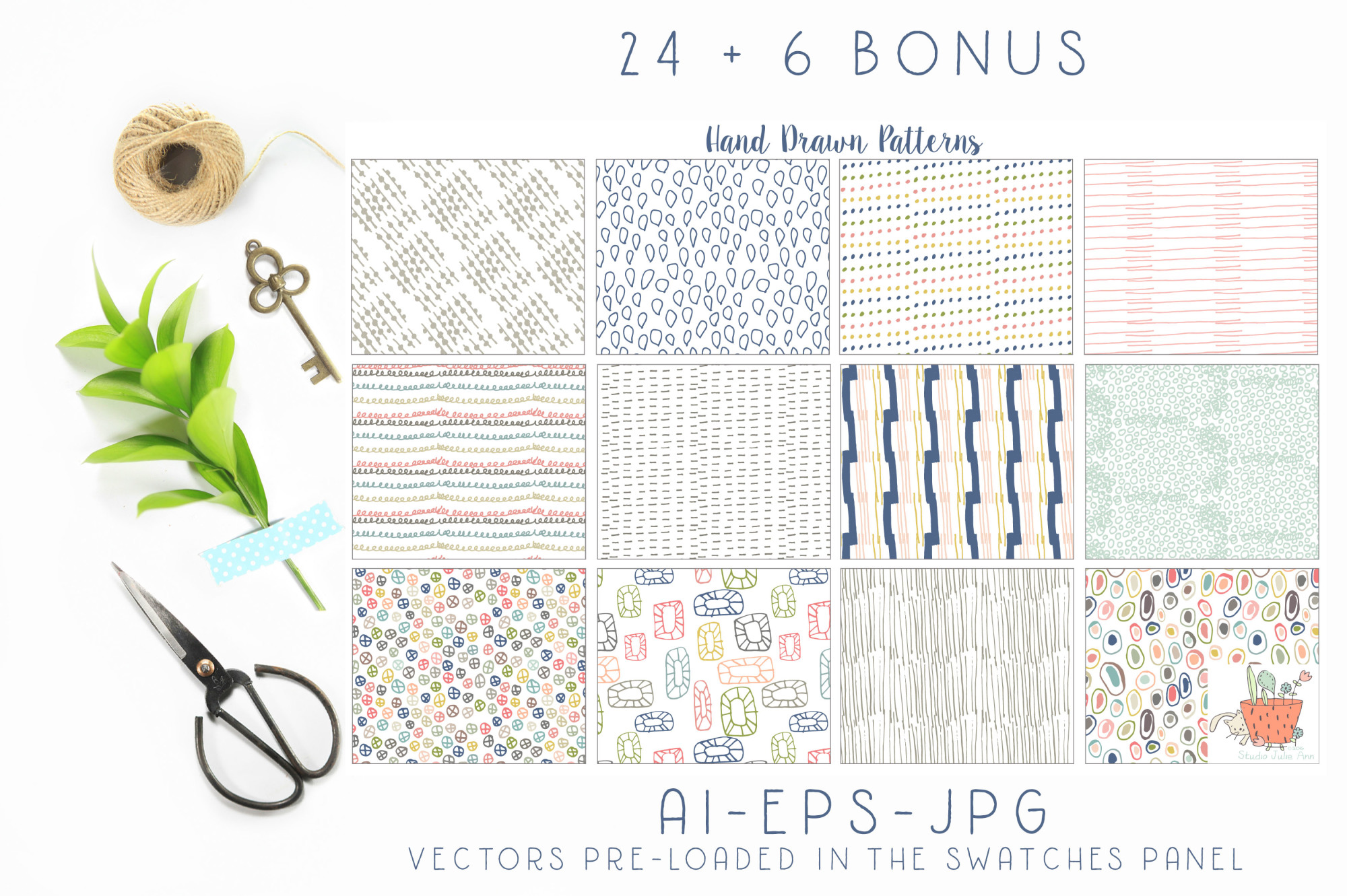 Hand Drawn Seamless Patterns Papers example image 2