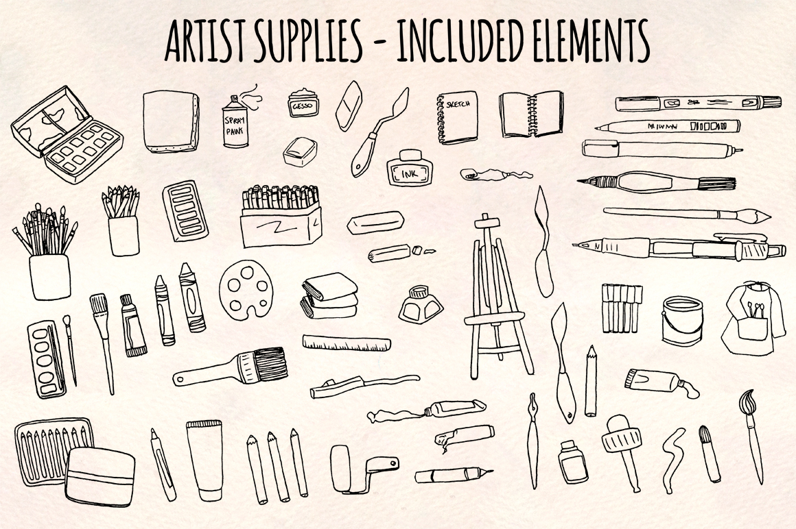 Art, Paint Brushes and Painting 59 Vector Sketch Elements example image 1