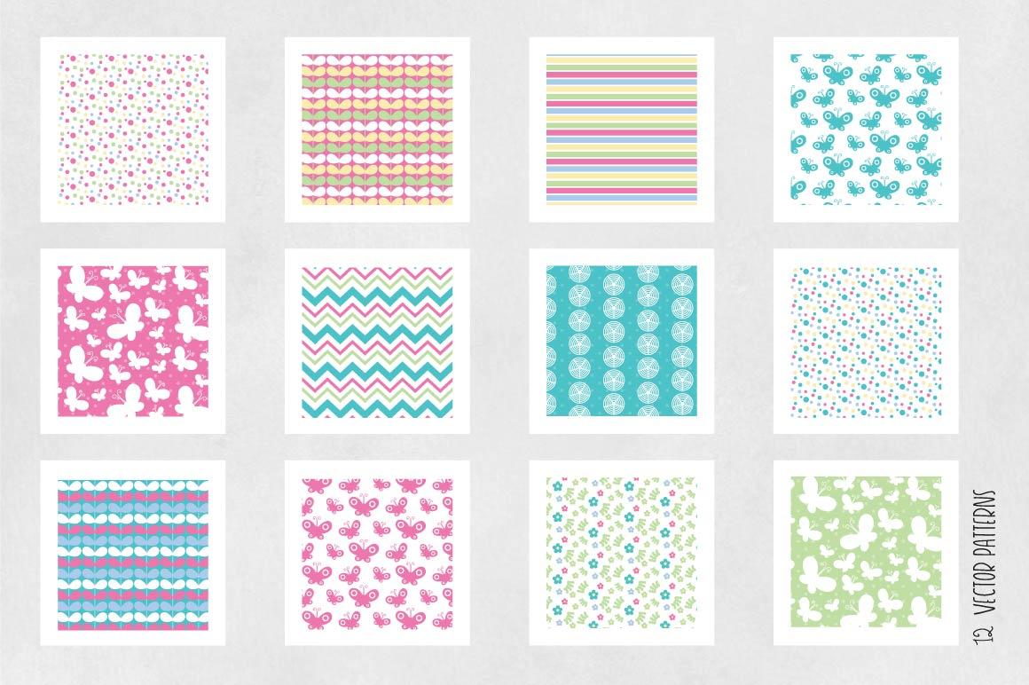 SPRING-BUTTERFLIES, digital papers example image 5