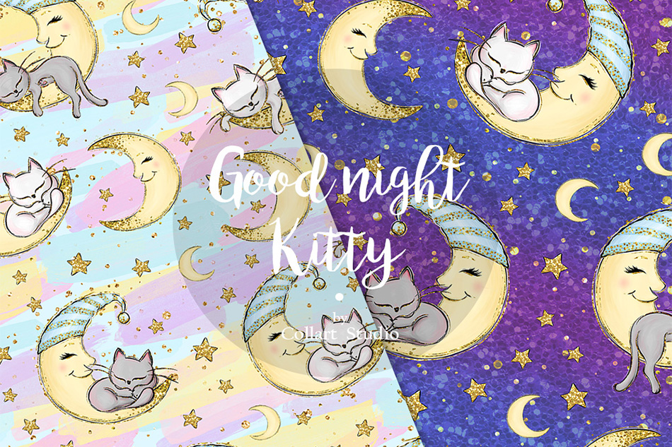 Kitten Digital Paper, Cats Patterns, Sleepy cats, 20 PAPERS example image 3