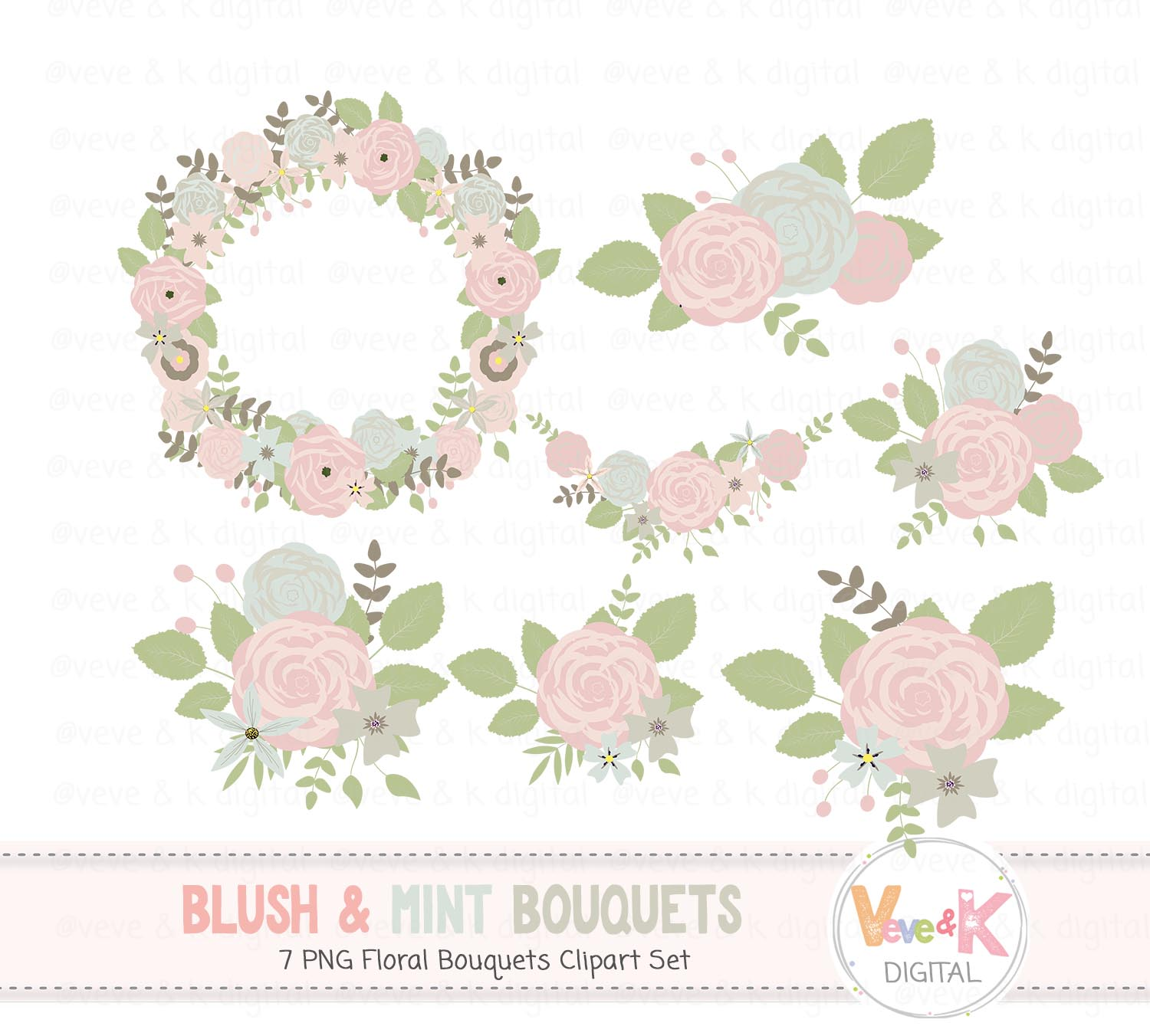 Flower wedding. Blush and mint floral