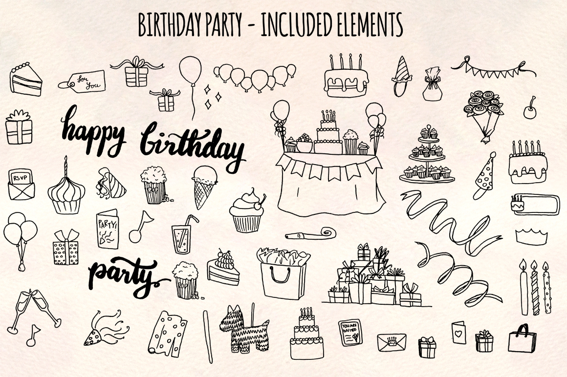 55 Birthday Party Vector Ink Sketches example image 2