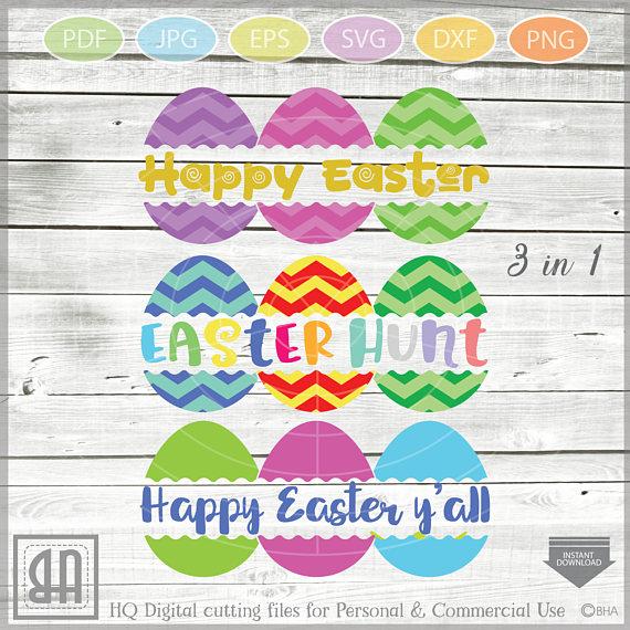 Easter Eggs monogram SVG, Split Easter Eggs, Egg Cut file example image 1