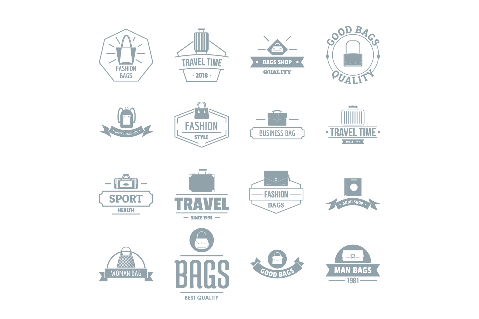 Travel baggage logo icons set, simple style example image 1