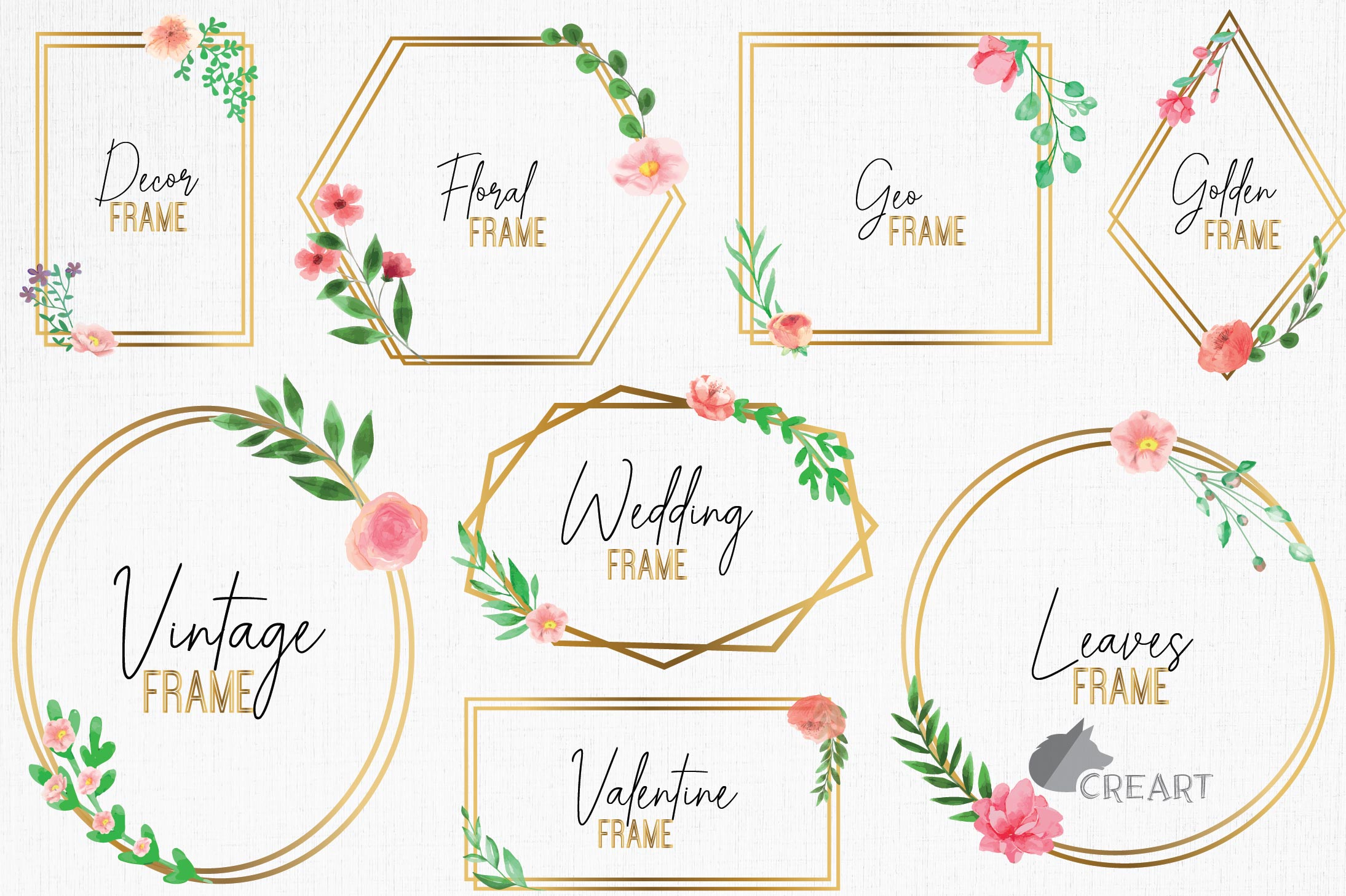 Golden Floral Frames Clip Art. Wedding geometric borders png example image 1